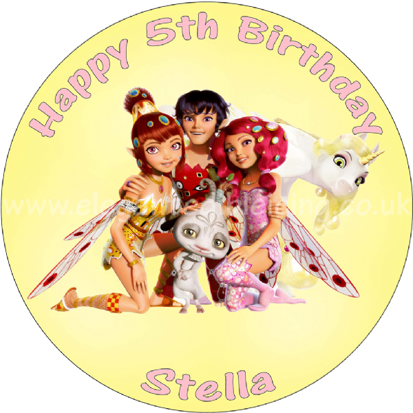 MIA AND ME PERSONALISED ROUND PRINTED EDIBLE BIRTHDAY CAKE TOPPER DECORATION